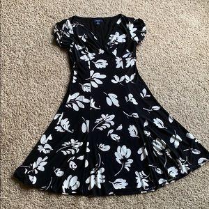 Black flowy dress with white prints